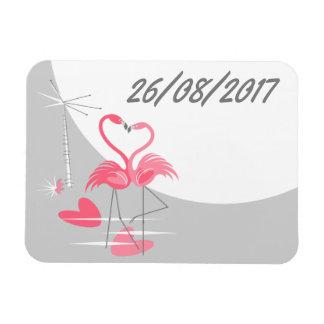 Ímã Paisagem da data da lua do amor do flamingo grande