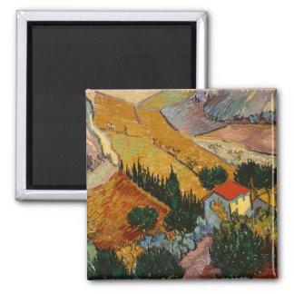 Imã Paisagem de Vincent van Gogh | com casa &