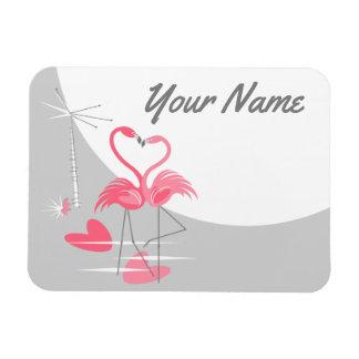 Ímã Paisagem do nome da lua do amor do flamingo grande