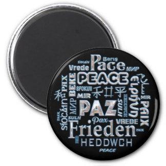 Imã Palavras multilingues da paz do disco do ímã 6cm