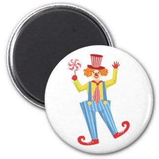 Imã Palhaço amigável colorido com o Lollypop em O