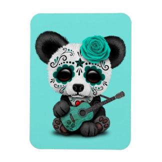 Ímã Panda azul do crânio do açúcar que joga a guitarra