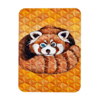 Ímã Panda vermelha no Cubism alaranjado Geomeric