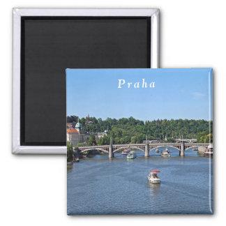 Imã Panorama do rio de Vltava em Praga