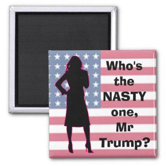 Ímã patriótico de Democrata da mulher desagradável Ímã Quadrado