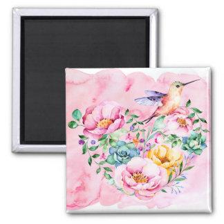Imã Peônias e coração cor-de-rosa do colibri