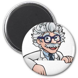 Imã Personagem de desenho animado do cientista que