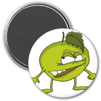 Imã Personagem de desenho animado verde da maçã com um