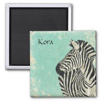Ímã personalizado azul da zebra do vintage ímã quadrado