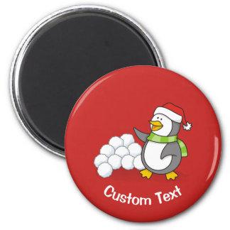 Imã Pinguim do Natal com ondulação das bolas da neve