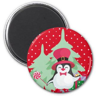Imã Pinguim festivo com trenó