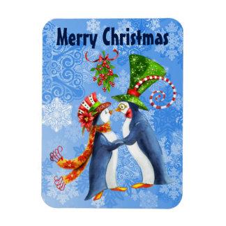 Ímã Pinguins do Feliz Natal no amor sob o visco