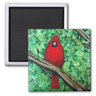 Imã Pintura cardinal, ímã quadrado de 2 polegadas