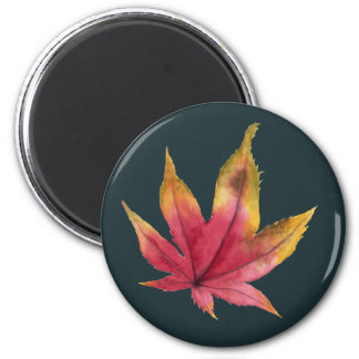 Imã Pintura da aguarela da folha de bordo do outono