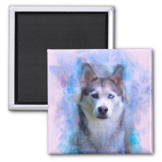 Imã Pintura da arte da cor de água do cão do rouco