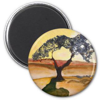 Imã Pintura de paisagem amarela da árvore da parte