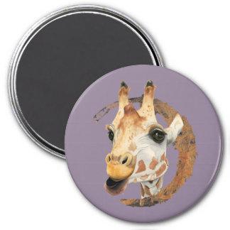 Imã Pintura do girafa com quadro do círculo do ouro do