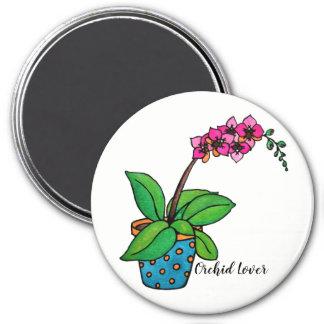 Imã Planta da orquídea da aguarela no pote bonito