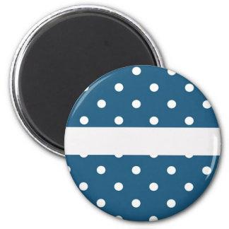 Imã pontos, azul e branco, tira, elegante