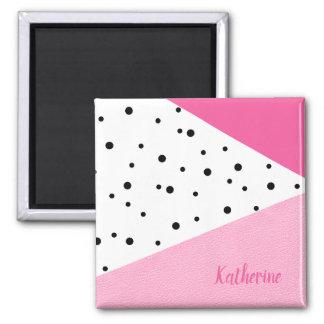 Imã Pontos pretos de couro cor-de-rosa geométricos