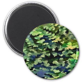 Imã Pop art abstrato da folha em verde e no azul