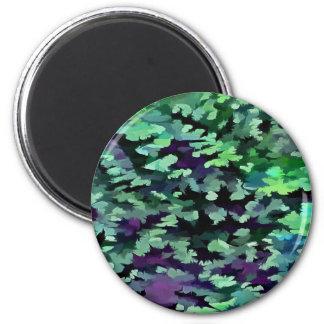 Imã Pop art abstrato da folha no verde e no roxo de