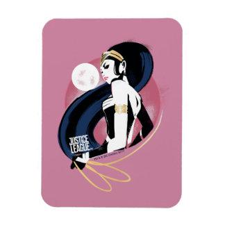 Ímã Pop art do perfil da mulher maravilha da liga de