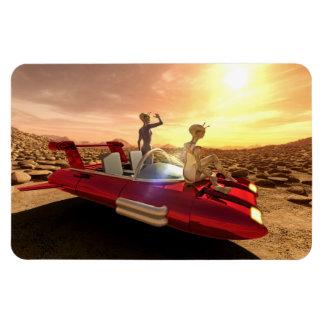 Ímã Por do sol retro da ficção científica em Marte