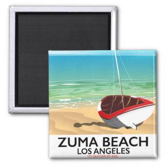 Imã Poster da praia do trilho do LA da praia de Zuma
