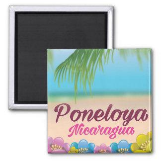 Imã Poster de viagens da praia de Poneloya Nicarágua