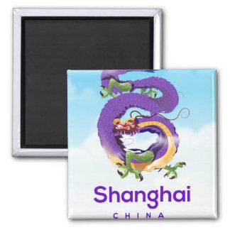 Imã Poster de viagens do dragão de Shanghai China