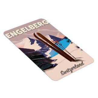 Ímã Poster de viagens do esqui da suiça de Engelberg