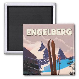 Imã Poster de viagens do esqui da suiça de Engelberg