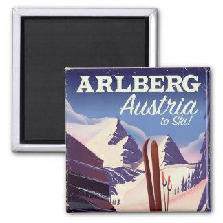 Imã Poster de viagens do esqui de Arlberg Áustria