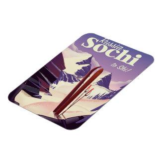 Ímã Poster de viagens do esqui de Sochi Rússia