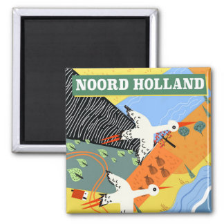 Imã Poster de viagens do estilo do vintage de Noord