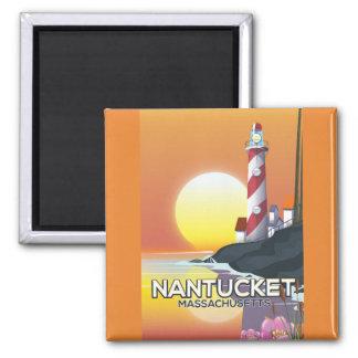 Imã Poster de viagens do farol de Nantucket