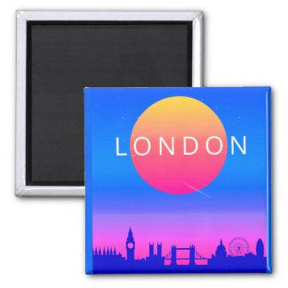 Imã Poster de viagens do por do sol da skyline de