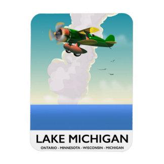 Ímã Poster de viagens do vôo do Lago Michigan