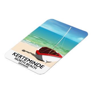 Ímã Poster de viagens norte de Dinamarca da praia de