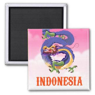 Imã Poster de viagens retro do dragão de Indonésia