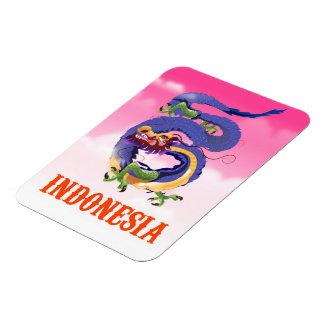 Ímã Poster de viagens retro do dragão de Indonésia