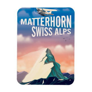Ímã Poster de viagens suíço de Matterhorn dos cumes