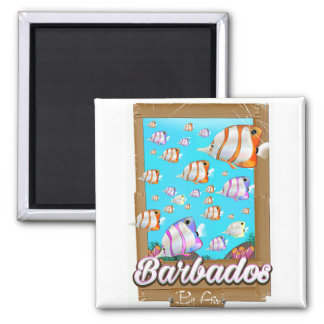 Imã Poster de viagens tropical dos peixes de Barbados