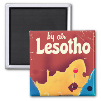 Imã Poster do vôo das viagens vintage de Lesotho