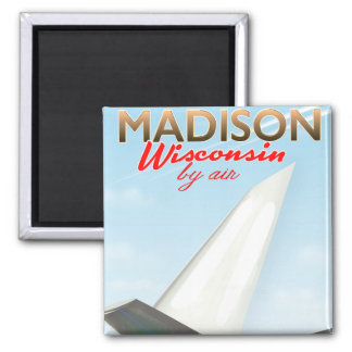 Imã Poster do vôo do vintage de Madison Wisconsin EUA