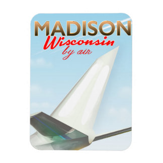 Ímã Poster do vôo do vintage de Madison Wisconsin EUA