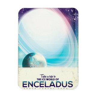 Ímã Poster vintage da viagem espacial de Enceladus