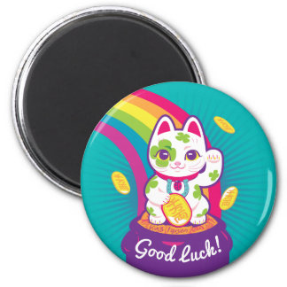 Imã Pote de boa sorte de Maneki Neko do gato de ouro