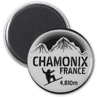 Ímã preto da arte do snowboard de Chamonix France Ímã Redondo 5.08cm